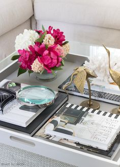 Styled coffee table with a painted gray tray!