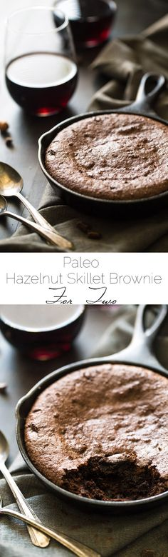 Hazelnut Paleo Brownies for Two - Ultra rich and fudgy you would never know these are gluten free and healthy! Delish! Use coconut oil in place of butter for easy dairy-free. Recipe via @FoodFaithFit