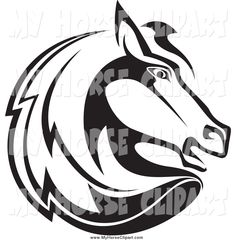 clip-art-of-a-black-and-white-horse-head-facing-right-by-seamartini-graphics-849.jpg (1024×1044)