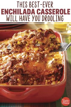 I get happy opinions each time I serve this beef enchilada casserole—even from my father, who often doesn't like Mexican meals. It smells scrumptious whereas baking. Enchilada Casserole Beef, Enchilada Recipes, Mexican Casserole, Enchilada Sauce, Cowboy Casserole, Taco Bake Casserole, Chicken Casserole, Dinner Casserole Recipes, Casserole Dishes