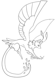 Feathered Fantasy Wolf Coloring Page