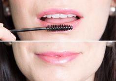 Exfoliate dry lips for a smoother lipstick application with a clean, disposable mascara wand.