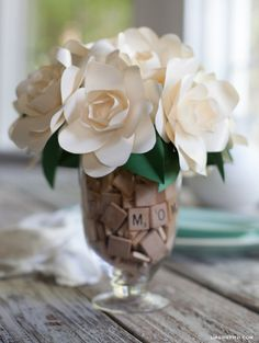 DIY gift ideas for Mothers Day - Scrabble Tiles in a vase with paper crafted flowers