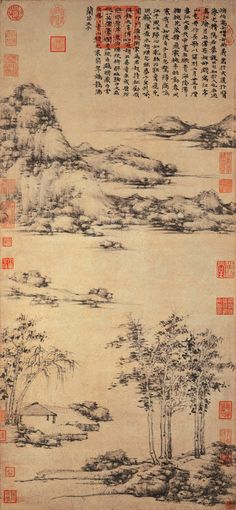 元代 - 倪瓚 - 江亭山色圖                         Ni Zan (1301-1374), Yuan Dynasty. Chinese landscape scroll painting with poetry.  red stamps.