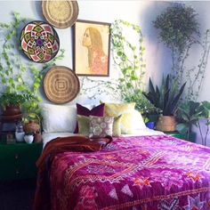 When nature wraps its arms around you & rouses you from your dreamland slumber ❤️ . Our Goddess Gaia vintage boujaad rug on this bed still seriously slays me! Such wanderlust lives here ✨ (store link in bio) . Happy Friday my friends! Deco Boheme, Interior Decorating, Interior Design, Moroccan Decor, Interior Exterior, Bohemian Decor, Bohemian Style, Home Decor Inspiration, Living Spaces