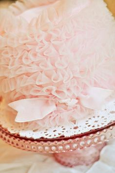 Pink tulle tea cake looks good enough to eat!