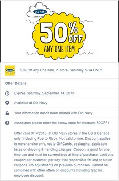 Pinned September 14th: 50% off a single item today at Old Navy #coupon via The Coupons App
