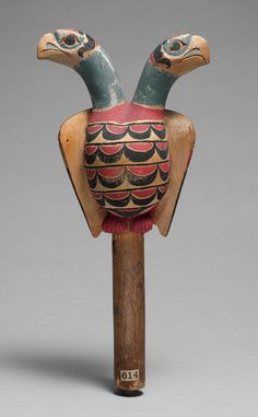 Rattle, 19th century  Alaska; Sitka  Wood, pigment    Overall: 4 3/4 x 10 in. (12.1 x 25.4 cm)  The Crosby Brown Collection of Musical Instruments, 1889 (89.4.614)