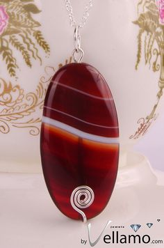 Beautiful large oval red sardonyx agate pendant by byVellamo, $34.00