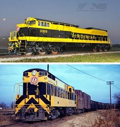 Norfolk Southern Heritage Engines: Then and Now, Trains Magazine - The Virginian Railway, in a striking yellow and black, is represented on EMD SD70ACe No. 1069, a part of Norfolk Southern's stable of heritage locomotives, on June 5, 2012. Norfolk Southern celebrates its 30th anniversary by rolling out locomotives in heritage paint. Find out what the predecessor railroads' paint schemes looked like in this exclusive photo gallery.