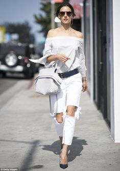 She's got the look: Alessandra Ambrosio looked summer ready on Tuesday in Los Angeles...