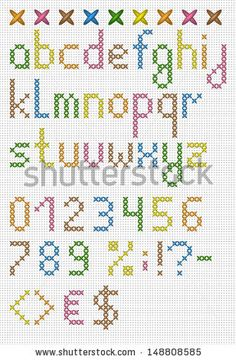 Colorful cross stitch lowercase english alphabet with numbers and symbols. Vector set.  - stock vector