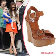 Victoria Beckham in Chloé Wooden Wedges - ShoeRazzi