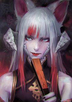Kitsune - JeikoHunter by ADPong on DeviantArt Female Character Design, Character Design Inspiration, Character Art, Fantasy Art Women, Fantasy Girl, Akali League Of Legends, Anime Wolf, Digital Art Girl, Anime Fantasy