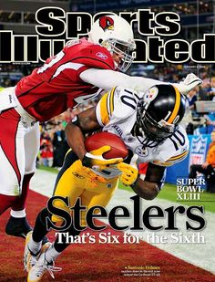 February 9 2009 Sports Illustrated Cover Football Super Bowl XLIII Pittsburgh Steelers Santonio Holmes in action making game winning catch of. Pittsburgh Steelers Football, Pittsburgh Sports, Football Hits, Steelers Win, Football Players, American Football, Sports Stars, Here We Go Steelers, Magazine Covers