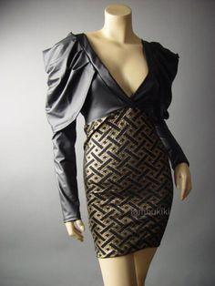 Black-Gold-Avant-Garde-Faux-Leather-Strong-Power-Shoulder-V-Neck-64-mv-Dress-M