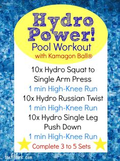 Hydro Power Pool Workout uses the Kamagon Ball by Hedstrom Fitness to help achieve functional fitness with Hydro-Inertia. This dynamic water resistance training features squats, presses, core work, and pool running for a full-body experience. #WildWorkoutWednesday