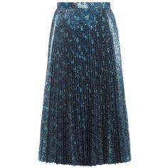 Prada Pleated Lamé Skirt (6.180 BRL) ❤ liked on Polyvore featuring skirts, blue, prada, blue skirt, knee length pleated skirt, prada skirt and pleated skirt