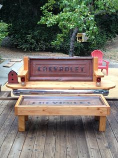 Chevy Stepside Tailgate bench and coffee table