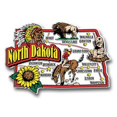 Our North Dakota jumbo state magnet measures approximately 9 square inches and has a thickness of 0.1. This Classic North Dakota State Jumbo Magnet is perfect for any refrigerator or metal surface and
