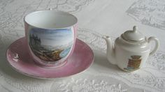 "Gemma crested china miniature teapot with ""Scarborough"" crest and antique / vintage ""South Sands Scarboro"" souvenir china cup and saucer - www.vanishederas.com"