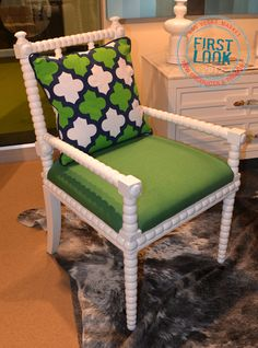 Green / Pattern  White hot at #lvmkt = Acapulco from @Room_ServiceLA is available as a dining or arm #chair