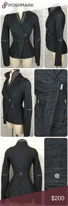LULULEMON Slub Denim Ride On Blazer Moto Jacket 4 This FABULOUS jacket was gently worn a small handful of times and is in EXCELLENT condition!   This is Lululemon's Ride On Blazer in a black slub denim. It features: • An asymmetrical zipper front closure • 2 zipper pockets • Reflective details on the elbows and underside of collar • Thumbholes at the cuffs •  Removable/zip out inner collar. lululemon athletica Jackets & Coats Blazers