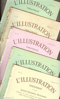 """Set of 5 Bourdet """"L' Illustration"""" 1910 Paris Theatre magazines"""