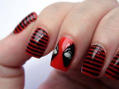 Deadpool-inspired nail art.