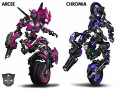 Arcee and Chromia in the tv show ''transformers prime '' arcee is blue