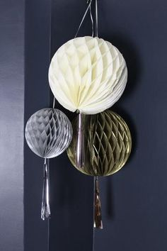 Set Of 3 Metallic Honeycomb Tassle Pom Poms Honeycomb, Home Accessories, Unique Gifts, Metallic, Christmas Decorations, Chandelier, Colours, Ceiling Lights, Pom Poms