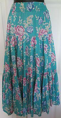 Vintage-Laura-Ashley-rare-L-cotton-summer-gypsy-tiered-skirt-boho-festival-70s