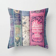 Land of Stories Pillow - Jane Austen, Alice in Wonderland, Fairy Tales. Jane Austen, Books Decor, Objet Wtf, Alice In Wonderland Bedroom, Wonderland Party, Pillow Inserts, Pillow Covers, Book Pillow, Pillow Talk