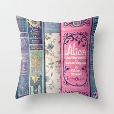 Land of Stories Pillow - Books, Decor, Bedding, Nursery, Girl's Room, Jane Austen, Alice in Wonderland, Fairy Tales, Mint, Aqua, Pink on Etsy, $30.00