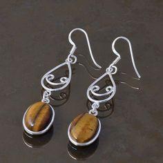 925 STERLING SILVER LADIS TIGER EYE & AMETHYST EARRING 4.56g DJER3260 #Handmade #EARRING