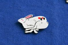 Hare rabbit animal woodland badge brooch pin wooden wood painted gift present idea