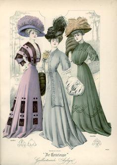 Outdoor dresses, 1908 the Netherlands, De Gracieuse - (Edwardian Era, vintage lady, fashion, style, apparel)
