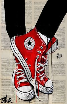 Save this cool red Converse shoe drawing over book pages by artist Loui Jover for some inspo for your next art drawing! Arte Pop, Shoe Art, Chuck Taylor Sneakers, Vans Sneakers, Cool Drawings, Beautiful Drawings, Art Sketches, Amazing Art, Saatchi Art