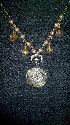 Rose Pocket Watch faux pearl and crystal Necklace  wicca
