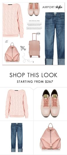 """Jet Set: Airport Style"" by paradiselemonade ❤ liked on Polyvore featuring AV London, Valentino, Current/Elliott, Rebecca Minkoff, CalPak and paradiselemonadeTS"