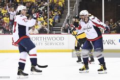 0173d73538f Washington Capitals right wing T.J. Oshie (77) celebrates his goal with Washington  Capitals left