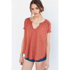 Ecote Nora Notch-Neck Tee ($34) ❤ liked on Polyvore featuring tops, t-shirts, rust, split neck top, red top, drape top, red tee and boho tops