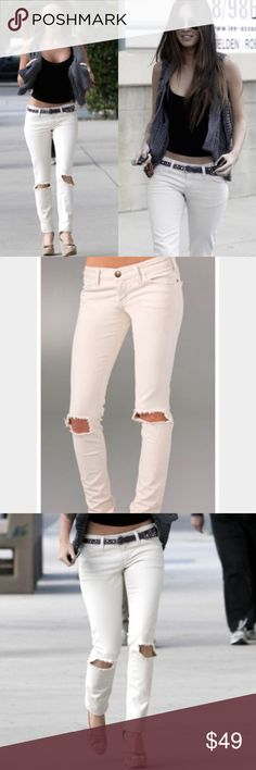 Current/Elliot skinny jeans in natural destroy As seen on Megan fox these highly coveted jeans are perfect for spring and summer. Perfect condition, natural destroy wash. Make an offer. Current/Elliott Jeans Skinny