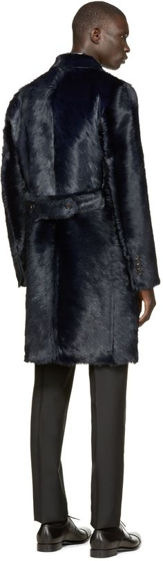 Dolce & Gabbana Navy Long Calf Fur Coat