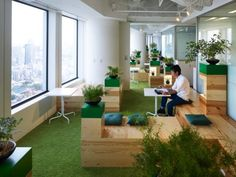 "ASTROTURF -- or GREEN carpeting / modular tile, to bring a little ""outdoor"" feeling inside!!!  Google has recently moved into new offices in Japan which were designed by Klein Dytham Architecture."