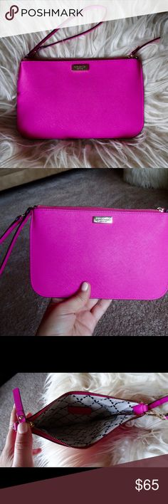 Hot pink wristlet Has a very small stain as pictured but probably can be cleaned. But super lazy. Gently used. kate spade Bags Clutches & Wristlets