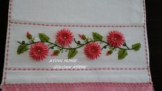 This Pin was discovered by Ayş Embroidery Bags, Simple Embroidery, Silk Ribbon Embroidery, Embroidered Towels, Different Stitches, Baby Pillows, Ribbon Work, Fabric Manipulation, Decoration