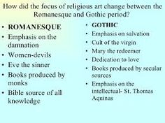compare and contrast romanesque and gothic architecture