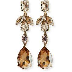 Oscar de la Renta Bold Crystal Teardrop Clip-On Earrings ($450) ❤ liked on Polyvore featuring jewelry, earrings, gold, golden earring, oscar de la renta, oscar de la renta jewelry, golden jewelry and earrings jewelry