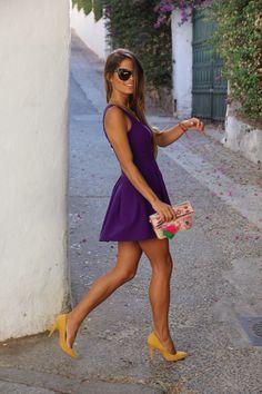 Purple dress + mustard yellow heels